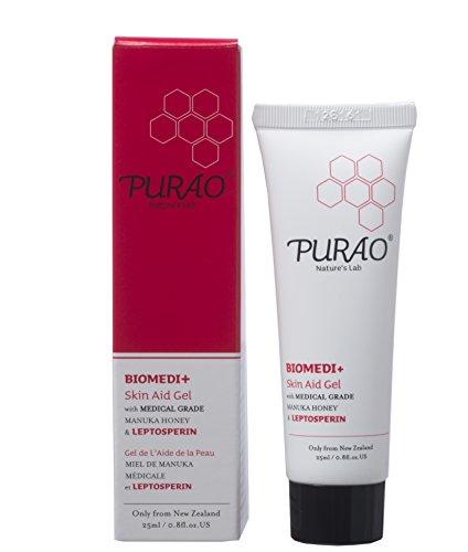 PURAO Natürliches Haut Aid Gel / natürliche erste Hilfe mit medizinisch Manuka Honig 25ml / 0.85oz