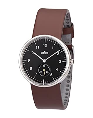 Braun BN0024BKBRG - Reloj de cuarzo unisex, correa de cuero color marrón de Braun