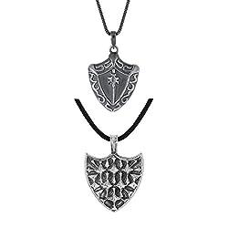Dare Set of 2 Silver Oxidized Shield Shape Pendant