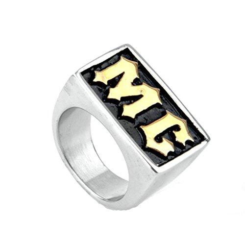BeyDoDo Modeschmuck Edelstahlring Herren Ring Edelstahl Alphabet Buchstabe MG Gold Ring für Männer Ringgröße 67 (21.3) (Alphabet Buchstaben Kostüme)