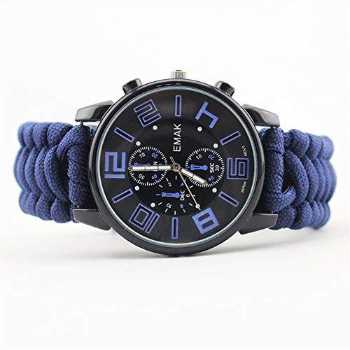Topshion Geburtstag Geschenk Herren Luminous Kompass Regenschirm Seil Survival Flint Life Wasserdicht Watch für Wandern & Camping, Unisex Herren, blau, 26 * 2.7 * 1cm