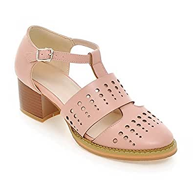 AllhqFashion Women's Buckle Kitten Heels Blend Materials Solid Round Closed Toe Pumps Shoes, Pink, 34