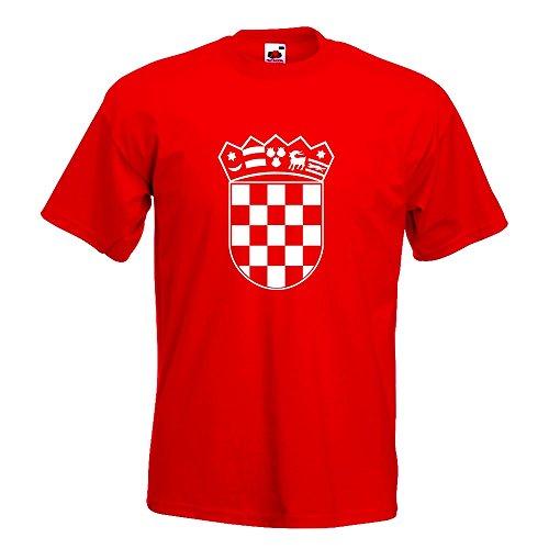 KIWISTAR - Flagge Kroatien Wappen T-Shirt in 15 verschiedenen Farben - Herren Funshirt bedruckt Design Sprüche Spruch Motive Oberteil Baumwolle Print Größe S M L XL XXL Rot