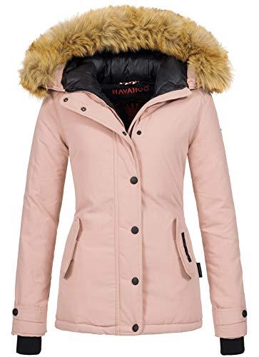 Navahoo warme Damen Winter Jacke Winterjacke Parka Mantel Kunstfell B392 (XXL, Rosa)