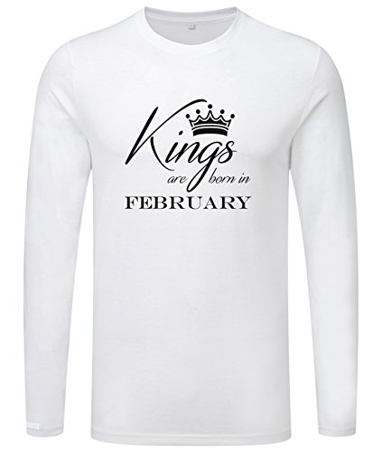 Kings are born in February - Geburtstag - Herren Langarmshirt Weiß