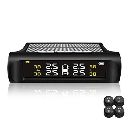 YTBLF External Car Universal-Reifenerkennungs-Monitor Wireless Solar-Reifendruck-Monitor Allgemein Autoreifen-Druck-Detektor TPMS Alarm