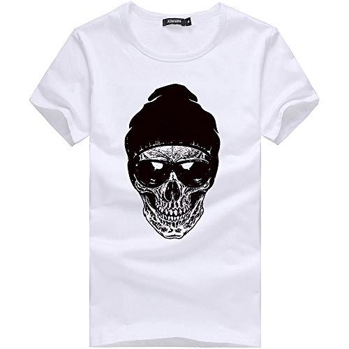 feiXIANG T-Shirt - Printemps Été, Homme Mode Casual Simple Multicolore Humour Imprimé Col Rond Tee Shirt Couleur Unie Tops à Manches Courte Slim Fit Pullover Chemisiers Blous