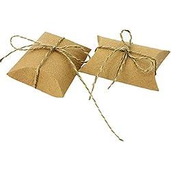 Leisial™ 50pcs Caja de Papel Vintage con Cuerda de Yute Dulces Chocolates Almohada Cajas de Regalo para Boda Fiesta de Cumpleaños