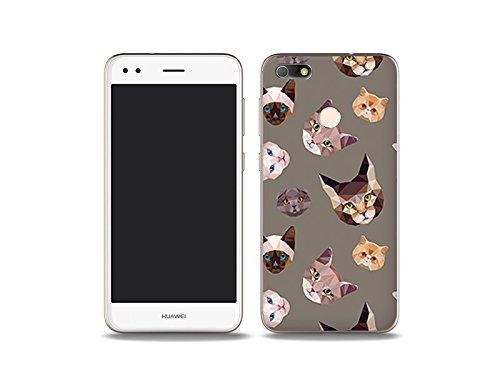 etuo Handyhülle für Huawei P9 Lite Mini - Hülle Fantastic Case - Geometrische Katzen - Handyhülle Schutzhülle Etui Case Cover Tasche für Handy