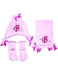 Girls Barbie Pink Fleece Winter Hat Scarf Gloves Set Age 8-10 Years