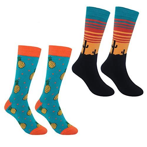 ECOMBOS Herren Socken Bunt - Baumwolle Socken Herren, Gemusterte Socken Muster Lustige Socken, Modische Socken Mehrfarbig Klassisch Baumwolle 38-45 - Ananas+kaktus