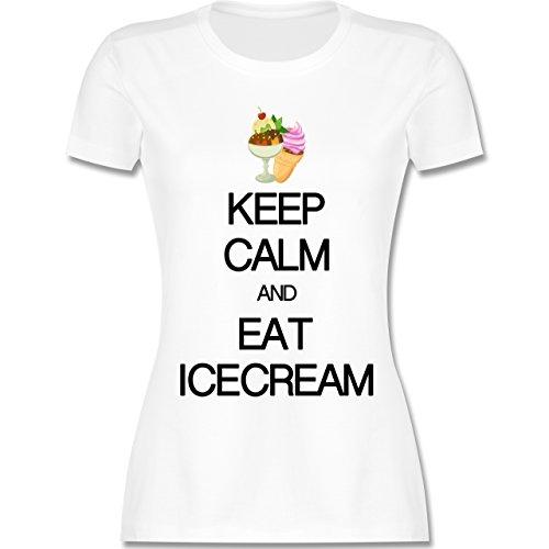 Keep calm - Keep calm and eat icecream - tailliertes Premium T-Shirt mit Rundhalsausschnitt für Damen Weiß