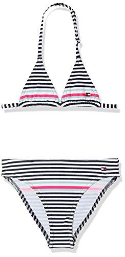 Tommy Hilfiger Mädchen Badebekleidungsset Triangle Bikini Set, Blau (Core Placed Stripe Navy Blazer 914), 140 (Herstellergröße: 10-11)