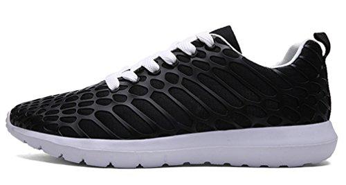 NEWZCERS leggero traspirante formatori maglia da corsa unisex atletica Passeggiare scarpe da ginnastica di sport Nero
