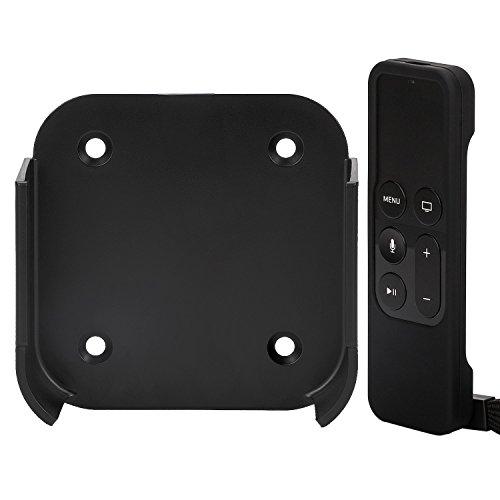 Rukoy Halterung Wandhalterung (Schwarz) für Smart-TV 4/4K mit Siri Remote Schutzhülle für TV 4/4K (5. Generation)