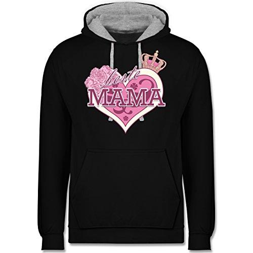 Muttertag - Beste Mama - Kontrast Hoodie Schwarz/Grau Meliert