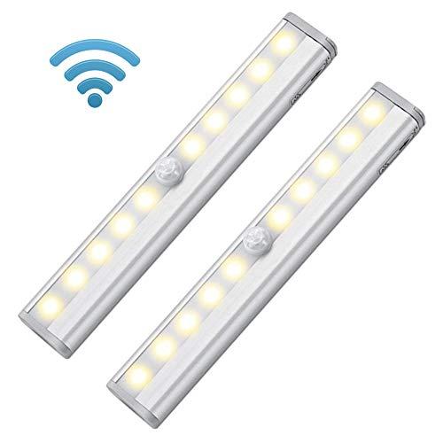 Kabellose Bewegungsmelder-Licht, LED-Nachtlicht, batteriebetrieben, Magnetstreifen, zum Aufkleben unter Schrank, Schrank, Schrank, Schrank Zählen, Schuppen, Treppen, gelb Puck-kabel