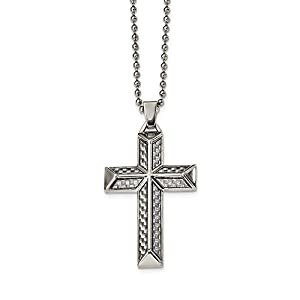 Edelstahl poliert mit Karboneinlage Kreuz Halskette–61cm