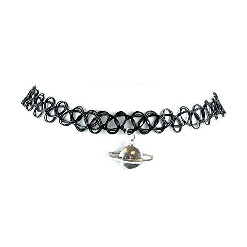 Live It Style It TrendsMe Tattoo Choker Stretch Charms Kette Retro Schwarz Henna Vintage Elastisch Boho[Planet]