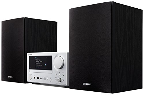 Onkyo CS-N575D-SB Multiroom (CD Hifi System, CD Player, Lautsprecher, WLAN, Bluetooth, Streaming, Musik Apps (Spotify, Tidal, Deezer), Radio/DAB+, 2 x 20 Watt Ausgangsleistung) Silber/Schwarz