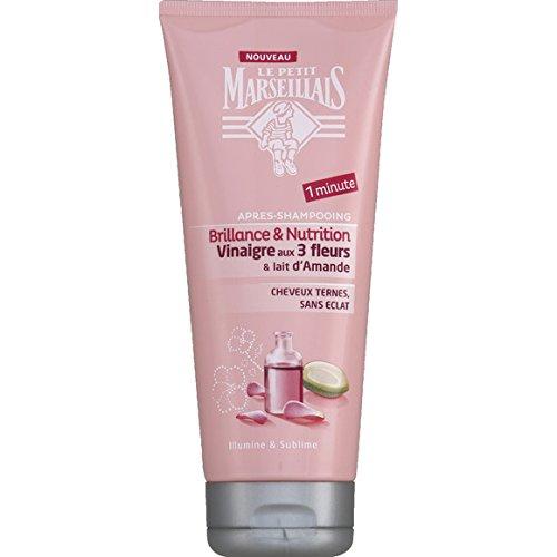 Le Petit Marseillais - Après-shampooing brillance & nutrition, Vinaigre aux 3 fleurs lait d'amande - Le tube de 200ml - (pour la quantité plus que 1 nous vous remboursons le port supplémentaire)