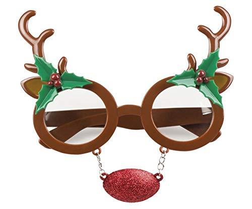 Boland 13433 Spaß Brille Rudolph mit Nase, Unisex– Erwachsene, Mehrfarbig