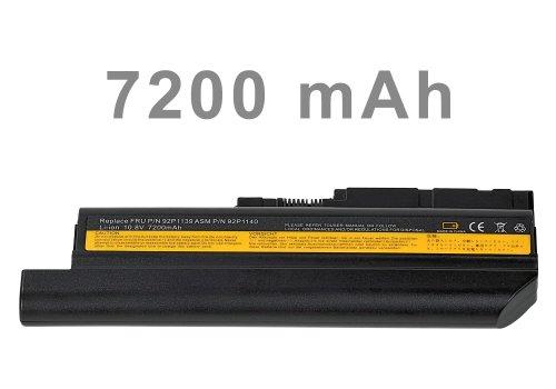 Acer-laptop-batterie-leben (e-port24 Mitsuru® 7200mAh Notebook Laptop Akku Batterie für IBM Lenovo Thinkpad R60 T60 R500 T500 W500 ersetzt 92P1137 92P1141 40Y6797)