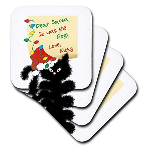 Charlyn Woodruff-CW Designs Urlaub-Weihnachten-Funny Fuzzy Black Cat Dear Santa Weihnachten Buchstaben-Untersetzer, Gummi, schwarz, set-of-4-Soft -