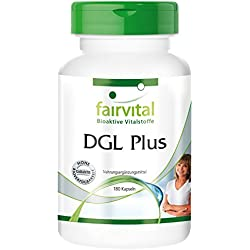 DGL Plus - für 1 Monat - VEGAN - HOCHDOSIERT - 180 Kapseln - mit Lakritze (Süßholz), Eibisch, Schleimulme und Aloe Vera