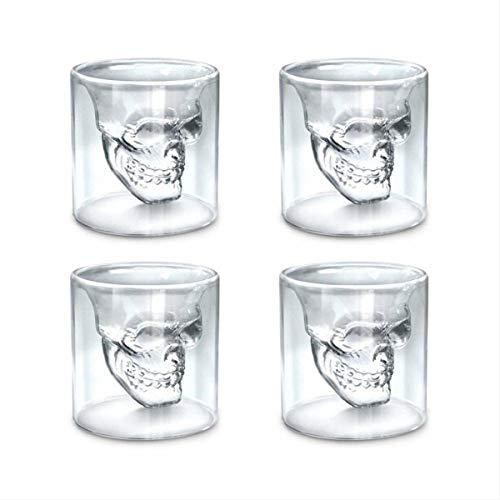 NICE Home Crystal Skull Weinglas Tasse Totenkopf Glas Trinkglas Wein Becher Gothic Cocktail Bier Becher für Zuhause/Club/Pub/Party, 4 Stück, 250 ml