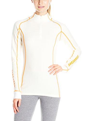 Helly Hansen Women's Warm Freeze 1/2 Zip Base Layer Tops, White/Neon Orange, Large
