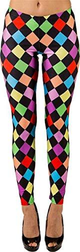 Fancy Me Damen Helles Jester Circus Karneval Clown Leggings Hose Festival Kostüm Outfit UK 10-20