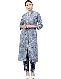 [Sponsored]Jaipur Kurti Women's Geometric Print A-Line Cotton Kurta With Pant