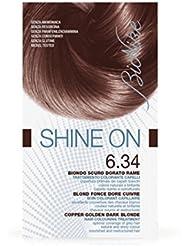 Bionike - Shine On 6.34 Blond Foncé Doré Cuivré 1 Tube Coloration 50Ml + 1 Flacon Révélateur 75Ml + 1 Sachet Masque Rééquilibrant 15Ml + Gants
