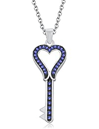 "Silvernshine 1.35 Ct Tanzanite Heart Key Pendant 18"" Chain Necklace In 14K White Gold Fn"