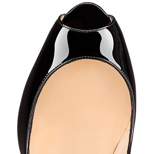 Estilete Mulheres Saltos De Camurça Estiletes Faschion 16cm Arte Preto Eletricamente Sandaleten Peeptoe Alto Sapatos Edefs Muito xYXwdqgY
