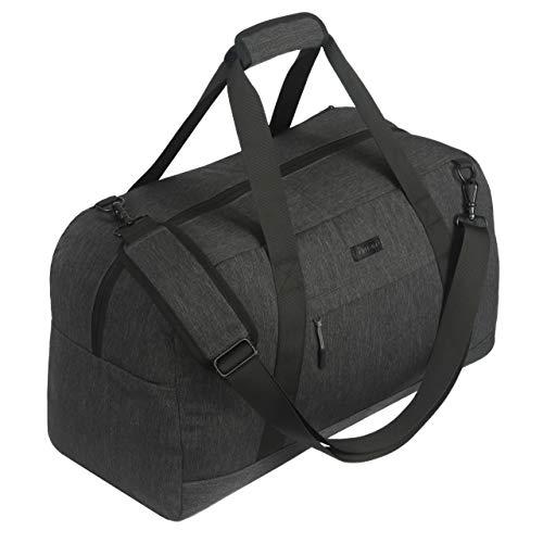SONTOKO Kleine Reisetasche, Leichte Umhängetasche, Handgepäck mit 34 Liter, 52x24x30 cm (L/B/H),der Elegante Weekender in Anthrazit Grau