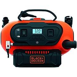BLACK+DECKER BDCINF18N-QS Gonfleur-Compresseur filaire ou sans fil - Batterie 18 V / Calbe 220 V / Allume-cigare 12 V - 11 bars / 160 PSI - Fourni avec 3 aiguilles et embouts, Orange