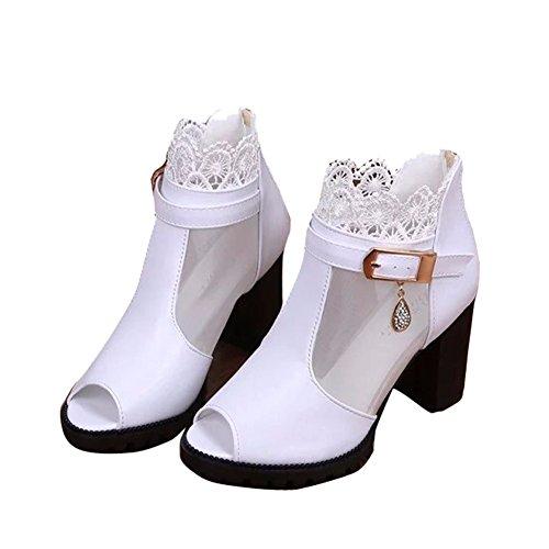 YUCH Kleidung Frauen Sandalen Bequeme Spitze High-Stöckelschuhe,Weiß,38