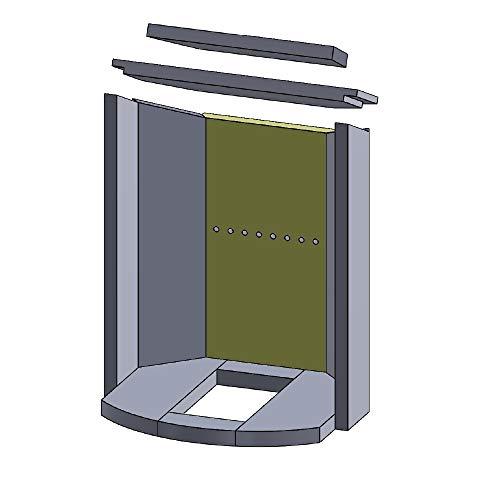 Flamado Feuerraumauskleidung Rückwandstein geeignet für passend für Justus Kamin Ersatzteile Kaminofen Brennraumauskleidung Vermiculite 500 x 264 x 25 mm 1.150°C