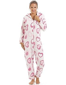 Superweicher Schlafanzug-Overall mit Kapuze - Fleece - Herzen - Pink & Weiß