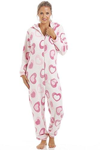 Superweicher Schlafanzug-Overall mit Kapuze - Fleece - Herzen - Pink & Weiß Pink
