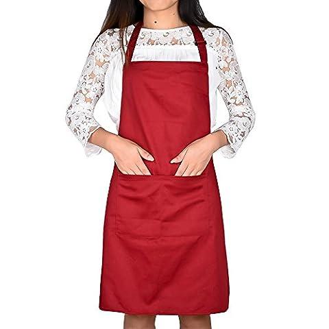 Jinberry Réglable Tablier de Cuisine avec Deux Poches avant / Blouse Chefs pour Artisanale Cuisson Jardinier ou Barbecue, Tissu Épais -