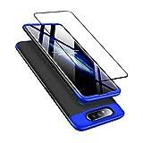 DECHYI kompatibel mit Samsung Galaxy A80 Hülle, handyhülle + panzerglas 360 Grad Schutz Matte PC Hard Cover Körperschutz Kratzfeste Abdeckung 360°Voll Staubschutz case Blau+Schwarz -