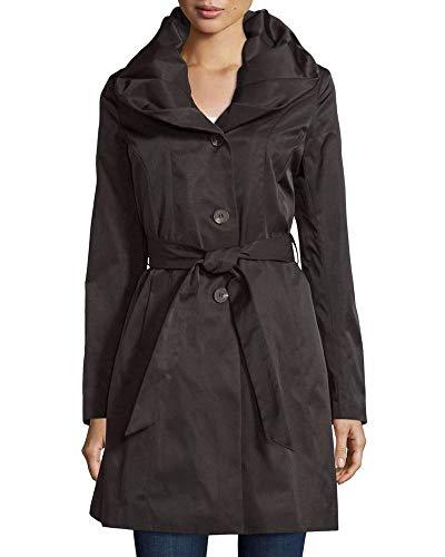 T TAHARI Womens Callie Black Belted Shawl Collar Trench Coat