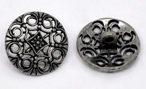Handarbeit-Lieblingsladen 15 Metallknöpfe Ösenknöpfe zum Aufnähen 18mm antiksilber Blumen Muster Keltik