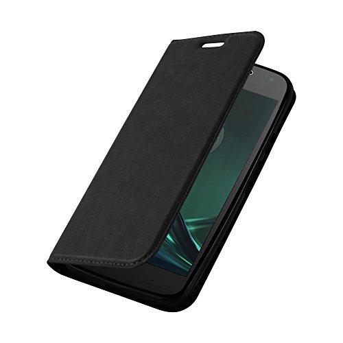 Cadorabo Hülle für Motorola Moto G4 Play - Hülle in Nacht SCHWARZ - Handyhülle mit Magnetverschluss, Standfunktion & Kartenfach - Case Cover Schutzhülle Etui Tasche Book Klapp Style