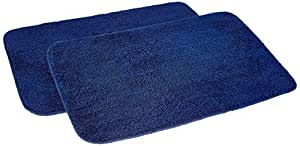 Amazon Brand - Solimo Anti-Slip Microfibre Bathmat, 40cm x 60cm - Pack of 2 (Blue)