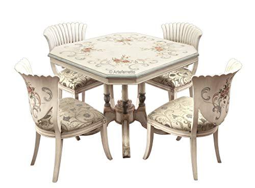 Essgruppe Esszimmer oder Wohnzimmer mit Dekor und Blumen, 4 Stühle + Tisch 100 x 100 Made in Italy, schöne Möbel handgemacht
