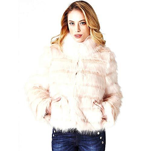 Guess giacca in pelliccia sintetica donna rosa w84l58-wawr0 autunno/inverno m